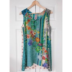 Johnny Was bohemian floral pattern tank top tunic